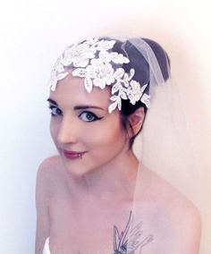 Bridal Cap Veil Flower Hair Piece Veil Headband  Lace by gebridal, $55.00 @Four Seasons Bridal