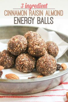 These 3 ingredient Cinnamon Raisin Almond Energy Balls are such an easy and simple snack to have on hand. Great for packed lunches or post-workout! | vegan snack ideas | healthy snacks for kids | gluten free snack recipes | easy snack ideas |