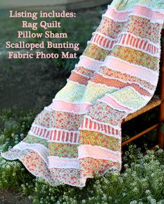 Rag Quilt Shabby Chic Baby Girl Crib Quilt by BerryonaThread