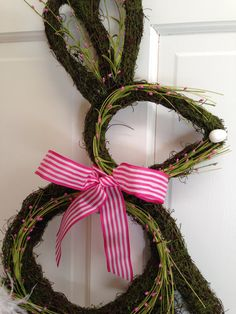 Whimsical Easter Bunny Moss Wreath  READY by CelebrateAndDecorate, $37.50