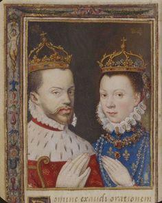 Philip II and Élisabeth de Valois, in a page from Catherine de' Medici's Book of Hours. Photo: Bibliothèque national de France.