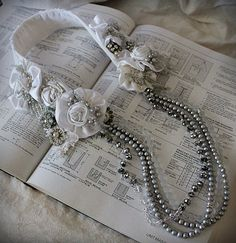 NIGHTS in WHITE SATIN White Silver Bridal Collar ♥ by carlafoxdesign, $375.00