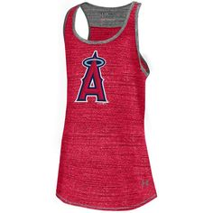Los Angeles Angels of Anaheim Under Armour Youth Girls Mascot Space Tech Premium Performance Tank Top - Red - $29.99