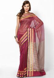Cotton Blend Pink Handloom Saree