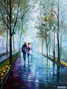 FOGGY STROLL - Palette Knife Oil Painting On Canvas By Leonid Afremov