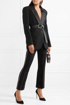 ISABEL MARANT stylish Philea Swarovski crystal-embellished felt straight-leg pants