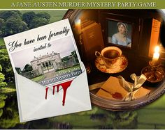 JANE AUSTEN Murder Mystery Party Game. .Vintage style look,  book lets, clues , Printable, Download now..art, regency,