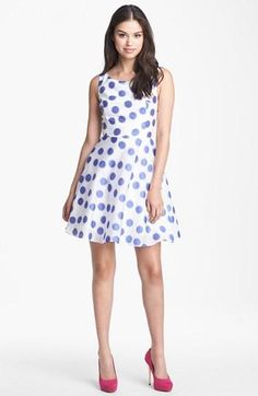 Style Tip: Contrast a blue & white polka dot dress with bold pink heels.