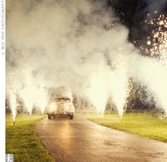 #Sparklers line the driveway - love this!