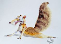 Scrat from the movie Ice age - Colored pencils. by f-a-d-i-l on DeviantArt