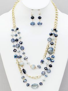 Glass Bead Multi Row Necklace Set