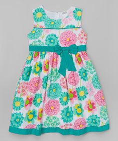 Teal & Pink Floral Sleeveless Dress - Toddler & Girls by Littoe Potatoes #zulily #zulilyfinds