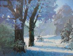 зима в живописи маслом - Google Search