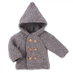 Grey baby coat made from wool hand-knitted by our grannies