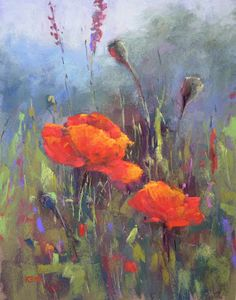 11x14       pastel I am stumped for a title for this painting!  It is a larger interpretation of one of my other poppy paintings and I can'...