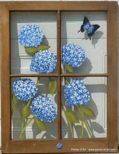 hydrangea flowers painted on glass window - Yahoo Image Search Results