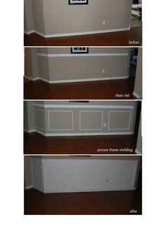 Chair rail with picture frame wainscoting