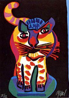 Karel Appel Foundation Tigre (serie Appel's Circus) (inspired by art enfantin). Tachisme, Art And Illustration, Bridget Riley Op Art, Op Art Lessons, Cobra Art, Art Informel, Art Optical, Optical Illusions, Circus Art