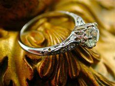 Antique Gothic Diamond Engagement Ring ( Etsy :: http://www.etsy.com/listing/103721985/antique-gothic-diamond-engagement-ring )