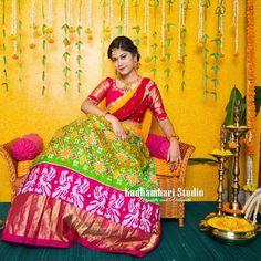 Pochampally Sarees, Ikkat Saree, Silk Sarees, Half Saree Lehenga, Kids Lehenga, Half Saree Designs, Fancy Blouse Designs, Half Saree Function, Lehenga Collection
