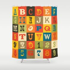 Buy VINTAGE ALPHABET Shower Curtain By Daisybeatrice. Worldwide Shipping  Available At Society6.com.