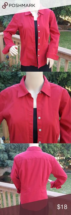Chico's Stunning red top - Chico's size 1 Beautiful long sleeve red button up top. Chico's size 1 is equivalent of a Medium or size 8. Excellent condition - only worn a few times. Very comfortable to wear. Great to wear during the upcoming holidays. No tears or stains.  Comes from a smoke-free home. Chico's Tops