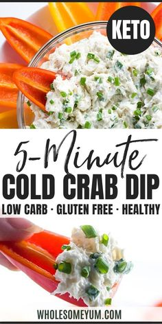 Easy Cold Crab Dip Recipe With Cream Cheese - 5 Minutes- Learn how to make crab dip! This EASY cold crab dip recipe with cream cheese (crab meat dip) needs just 5 minutes + 6 ingredients. Cold Dip Recipes, Crab Meat Recipes, Cream Cheese Recipes, Real Food Recipes, Cheese Dips, Crab Salad Recipe With Cream Cheese, Crab Dip Cream Cheese, Cold Appetizers, Appetizer Recipes
