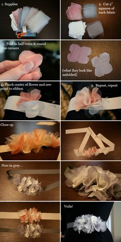 New baby diy headbands inspiration Ideas Diy Tutu, Tulle Flowers, Diy Flowers, Fabric Flowers, Paper Flowers, Fabric Flower Headbands, Tulle Bows, Flowers Garden, Diy Baby Headbands