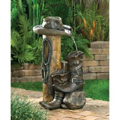 Wild Western Water Fountain Cowboy Hat Boots Home Garden Ranch Style | Home & Garden, Yard, Garden & Outdoor Living, Ponds & Water Features | eBay!