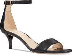 Nine West Women's Shoes in Black Leather Color. Nine West Leisa Two-Piece Kitten Heel Sandals Women's Shoes