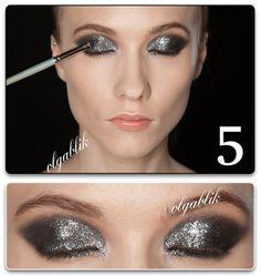 Makeup Tutorial Glitter Smokey Eye, пошаговый урок макияжа, смоки айс