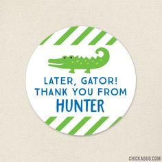 Alligator Party Favor Stickers - Alligator Birthday Stickers - Sheet of 12 Alligator Party, Alligator Birthday, Personalized Favors, Personalized Stickers, Swamp Party, Candy Bags, Favor Bags, Party Favors, Handmade Gifts