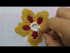 Hand Embroidery Beads Work, Flower Embroidery with Beads – hand embroidery Embroidery Hearts, Hand Embroidery Videos, Hand Embroidery Flowers, Hand Work Embroidery, Flower Embroidery Designs, Simple Embroidery, Hand Embroidery Stitches, Embroidery Techniques, Bead Embroidery Tutorial