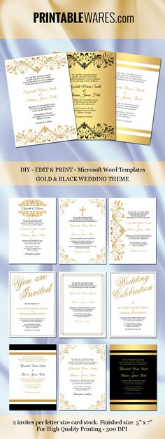 Printable beach theme wedding invitations Editable Microsoft Word - ms word invitation templates