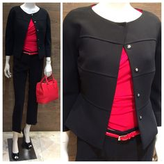 MaxMara Studio collection classy & fabulous black pants suit: Studio collection short black jacket with ¾ sleeve | Studio collection striking red viscose knit blouse with ¾ sleeve & asymmetrical crossover detail | MaxMara red patent leather skinny belt | Studio collection black Capri pants with turn up detail | MaxMara printed red cattle leather handbag with two handles and shoulder strap | Maxmara black patent leather peep toe heel. Prices on request.