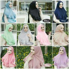 Jilbab instan / Khimar Mini Lyra softpad antem bubble pop, Khimar mini softpad antem dengan variasi rempel layer bergelombang di bagian bawah khimar yang mempercantik penampilan. Material bubble pop, WA +628129936504 Hijab Skirt, Hijab Abaya, Hijab Wedding, Street Hijab Fashion, Hijab Tutorial, Mode Hijab, Niqab, Bubbles, Glamour