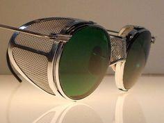 Goggles VTG Steampunk Motorcycle Matsuda Antique Safety Sun Glasses w Shields… Men Sunglasses Fashion, Fashion Eye Glasses, Steampunk Motorcycle, Steampunk Sunglasses, Mens Glasses, Eyeglasses, Eyewear, Round Sunglasses, Fashion Accessories