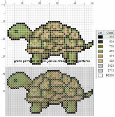 borduren schildpad kruissteekpatronen turtle cross stitch charts