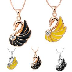 New Women Swan Crystal Rhinestone Silver/Gold Chain Pendant Necklace Jewelry Top Jewelry Sets, Jewelry Necklaces, Gold Chain With Pendant, Dangle Earrings, Pendant Necklace, Stainless Steel Bracelet, Crystal Rhinestone, Gold Chains, Mother Day Gifts