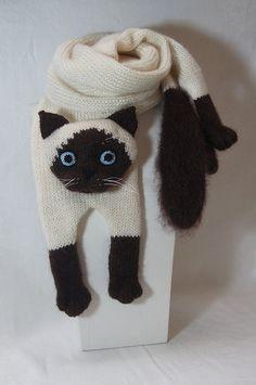 Mohair larga bufanda Gato siamés bufanda tejer gato bufanda