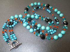 Turquoise Onyx and Swarovski Crystal Double Strand by mdeja, $120.00