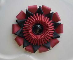 Millinery Ribbon Cockade flower -Vintage and Military Inspired Black and Red via Etsy