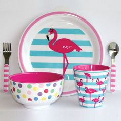 FALMINGOS - Melamine Dinner Set - Funky Flamingo - hardtofind.
