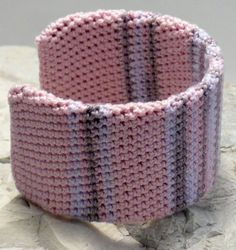 Pink Wisteria Brown Handmade Crocheted Cuffed Bracelet - Gia on Pink