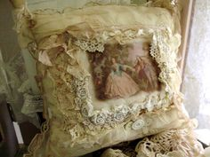 Boudoir pillow made with textiles from France. Wonderful flea market at Mirepoix
