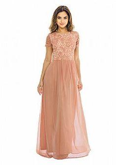 αέρινο maxi φόρεμα burnt caramel lace