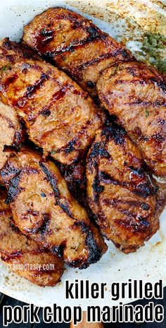Asian-inspired grilled pork chop marinade with a perfect balance of sweet, pungent, savory, salty and tangy notes. Pork Recipes, Cooking Recipes, Pork Marinade Recipes, Quick Pork Chop Recipes, Grilled Recipes, Cooking Tips, Recipies, Spareribs, Summer Grilling Recipes