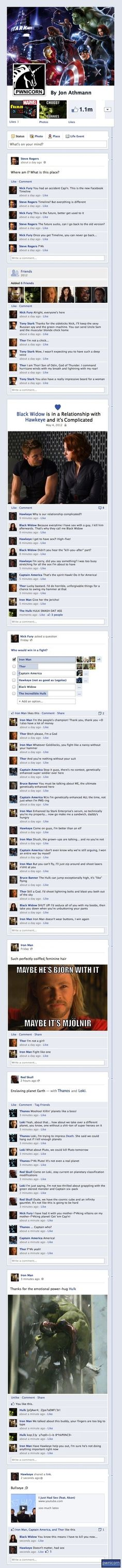 the Avengers on Facebook.... and I don't care if you're a comic book geek or not. This. Is. Hilarious. :D