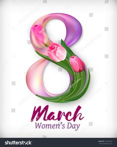 Women's day design with pink tulips, march vector illustration graphic. Greeting Card Template, Greeting Cards, International Womens Day Poster, Happy Birthday Wallpaper, 8 Martie, Graph Design, Pink Tulips, Writing Styles, 8th Of March