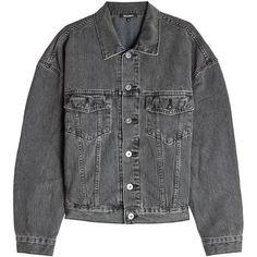 Yeezy Denim Jacket (€555) ❤ liked on Polyvore featuring outerwear, jackets, black, oversized denim jackets, oversized leather jackets, genuine leather jackets, denim leather jacket and oversized jackets